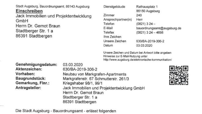 Baugenehmigung für UNIKLINIK APARTMENTS.Markgrafenstraße 67   Augsburg