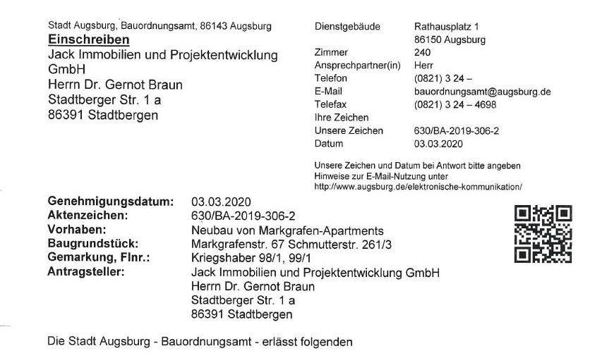 Baugenehmigung für UNIKLINIK APARTMENTS.Markgrafenstraße 67 | Augsburg